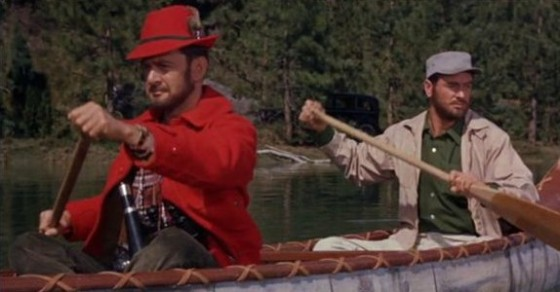 Peter and Jerry canoeing in Canada