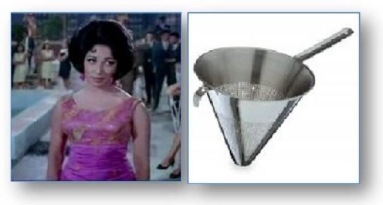 Mala Sinha and a Soup Colander