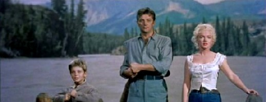 Tommy Rettig, Robert Mitchum and Marilyn Monroe in River of No Return
