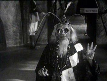 The evil wizard Barfi plots in Halla