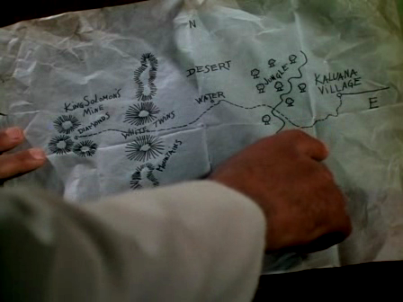 Curtis's map of the way to the diamond mine