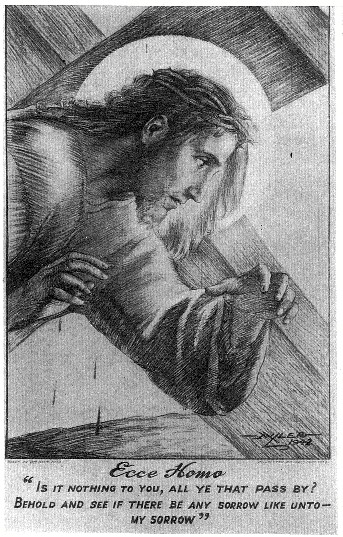 Christ, by Sam Millar; this is a charcoal drawing that was used for a postcard.