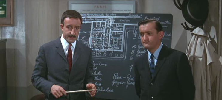 Clouseau discusses the Gambrelli case with Hercule