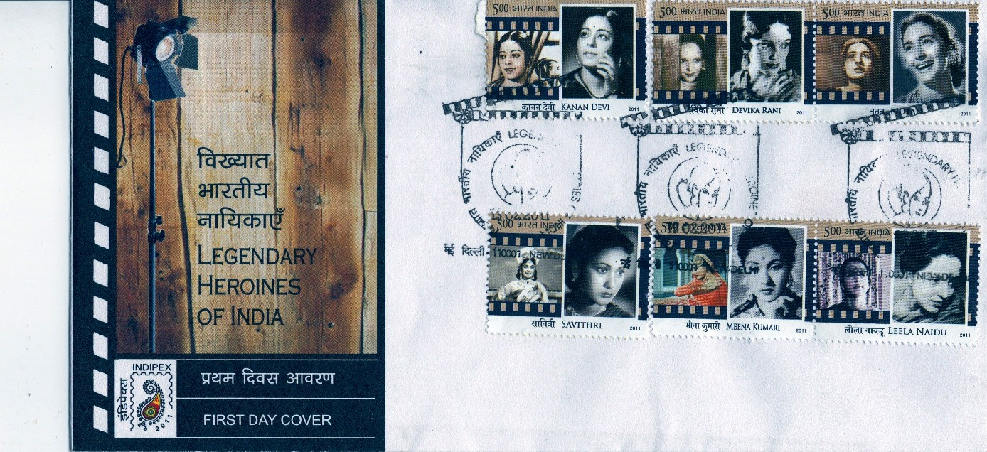 First day cover of the six-stamp set on legendary Indian actresses