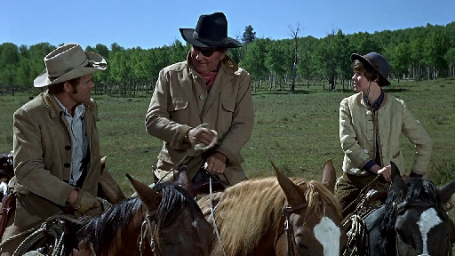 Glen Campbell, John Wayne and Kim Darby in True Grit