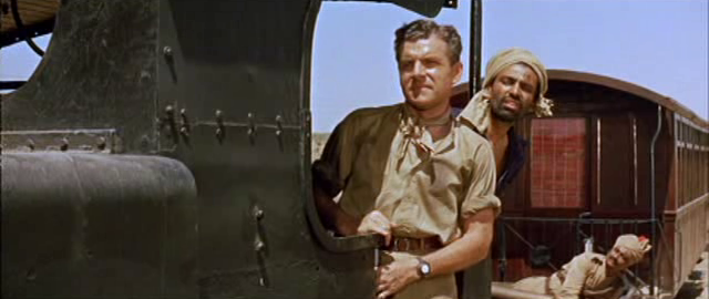 I S Johar, Kenneth More and  (in the background) S M Asgaralli in North-West Frontier