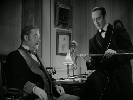 Holmes looks at Dr Mortimer's stick