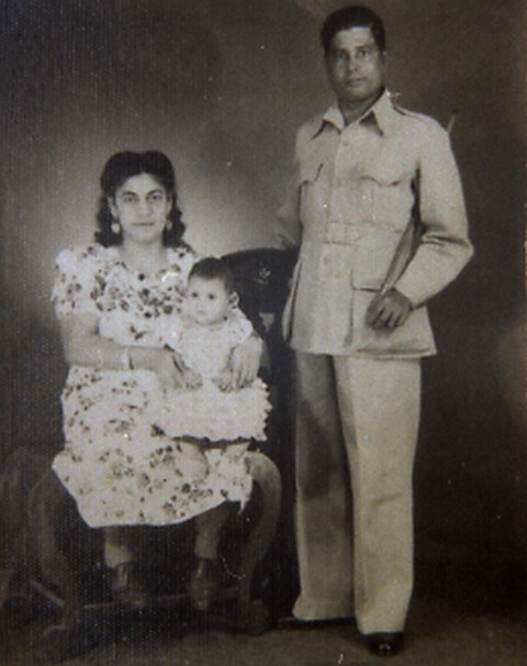 Edwina with her parents