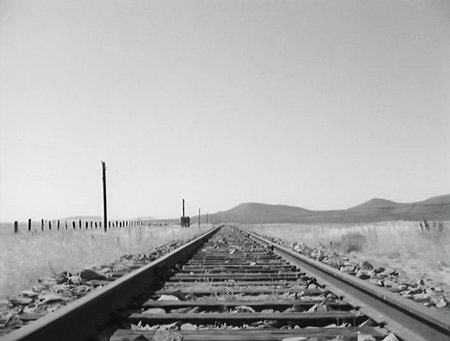 The tracks stretch towards the horizon
