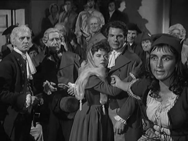 Dorothy Tutin, Paul Guers and Rosalie Crutchley in a scene from A Tale of Two Cities
