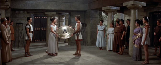 Gorgo gives Phyllon his shield and war cloak