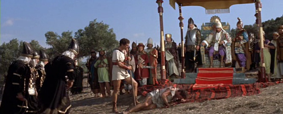 A Spartan spy is brought before Xerxes