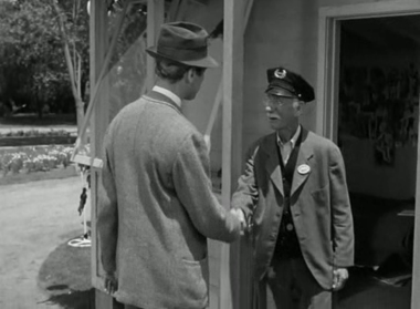 Elwood makes friends with the gateman at Chumley's Rest
