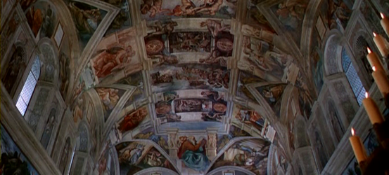 The finished ceiling of the Sistine Chapel