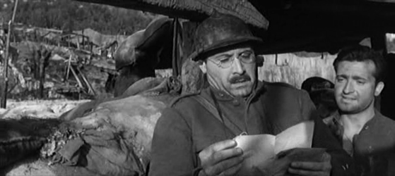 Lieutenant Gallina reads out a love-letter for one of his men