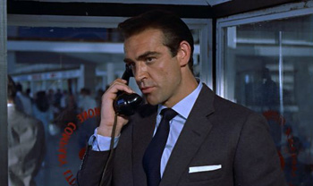 Bond makes a phone call