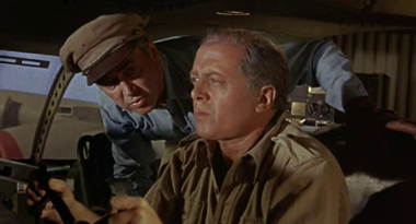 James Stewart and Richard Attenborough as Towns and Moran