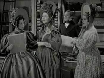 Mrs Bennet with Jane and Lizzy in Meryton
