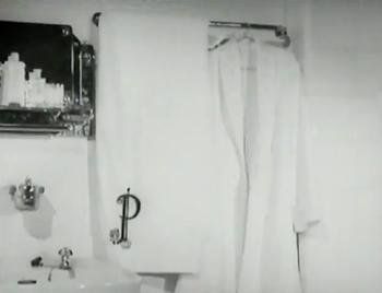 Monogrammed towels in P's bathroom
