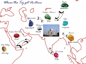 Sources of some stones for the Taj