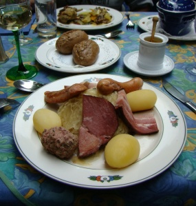 Typically Alsatian food: sauerkraut, meat and potatoes, at a cafe in Petite France