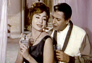 Pran with Helen in Gumnaam