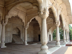 In Delhi's Hayat Baksh Bagh, a view of cusped arches and a chadar, at one of the garden pavilions.