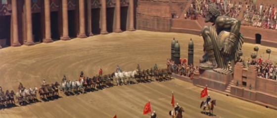 The chariot race scene in Ben Hur