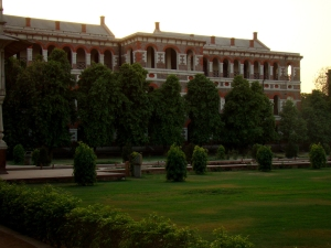 Buildings erected by the British in the Red Fort, seen from the Hayat Baksh Bagh.
