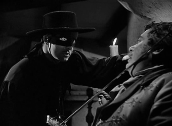 Tyrone Power as Zorro in The Mark of Zorro