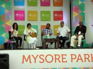 Sharmishtha Guptoo, Nasreen Munni Kabir, MK Raghavendra, Sidharth Bhatia and Baradwaj Rangan in a panel discussion on cinema writing