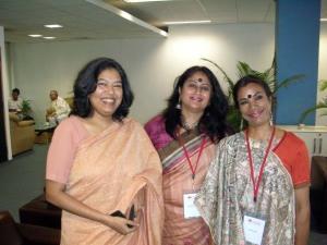With Shikha Malaviya and Vibha Rani - and Gulzar in the background