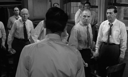 A tense scene from 12 Angry Men