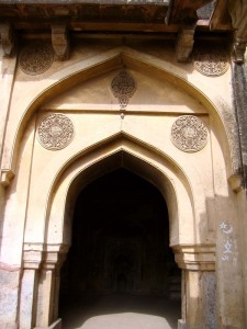 The main doorway to the mosque at Rajon ki Baoli.
