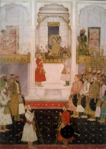 Aurangzeb reports to Shahjahan in the durbar.