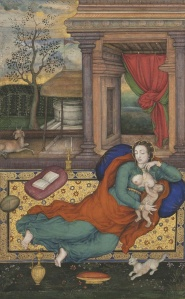 Painted by Akbar's court painter Basawan, this Madonna and Child is from the Jahangir album.