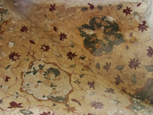 Traces of painted plaster in the dalaan at Shalimar Bagh.