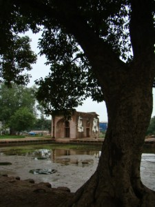 At Shalimar Bagh, the water channel and one of the pavilions.
