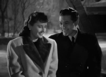 Barbara Stanwyck and Dennis Morgan in Christmas in Connecticut