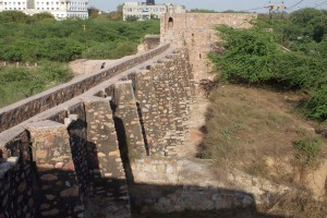 A view of Satpula, showing the piers which held the wooden sluice gates.