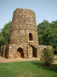 A view of the Chor Minar; the 225 holes in the upper half of the tower were supposedly used to display the heads of criminals.