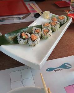 Spicy salmon sushi