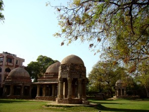 At the Hauz Khas madarsa: tombs of old teachers, also possibly used as small halls for discussions.