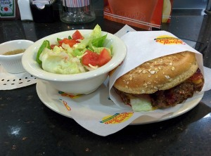 The bacon cheddar single at Johnny Rockets, on wholewheat, with a salad.