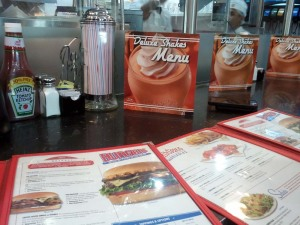The menu at Johnny Rockets - and a view of the counter.