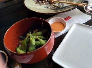 The 'dynamite' edamame at Benihana - not too spicy at all.