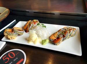 The Benihana tempura roll, filled with salmon, tuna and prawn.