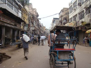 Walking through Lal Kuan Bazaar.