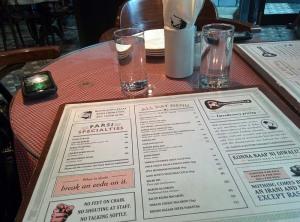 The menu at Soda Bottle Opener Wala.
