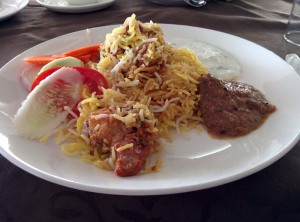Lunch at 4 Seasons: Biryani, the works, and salad.